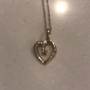 Jewelry - Diamond gold heart necklace pendant and chain